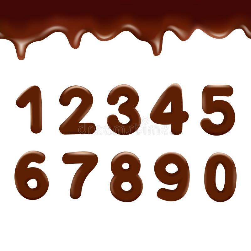 Numeri del cioccolato su fondo bianco Illustrazione di vettore illustrazione di stock