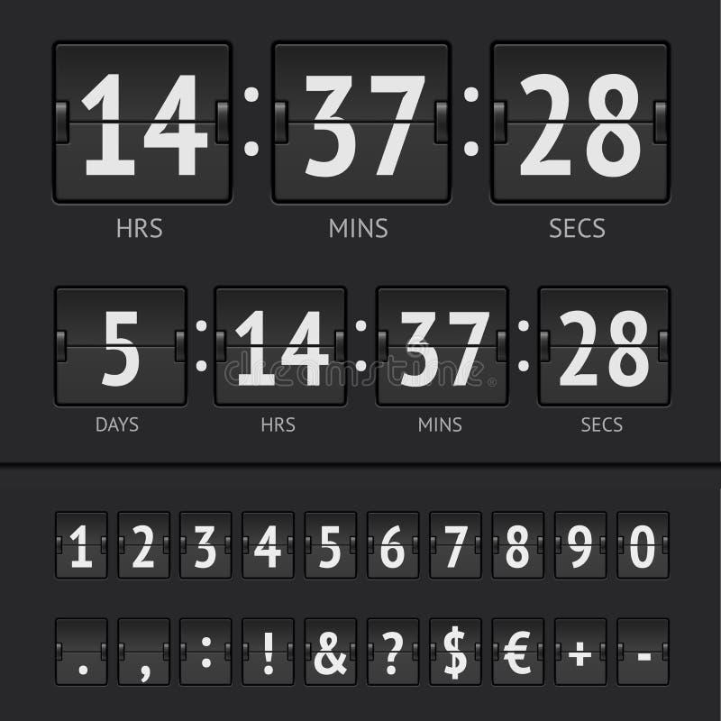 Numeri del temporizzatore e del tabellone segnapunti di conto alla rovescia di vettore illustrazione vettoriale