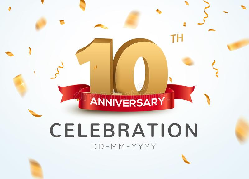 10 numeri dell'oro di anniversario con i coriandoli dorati Decimo modello del partito di evento di anniversario di celebrazione royalty illustrazione gratis