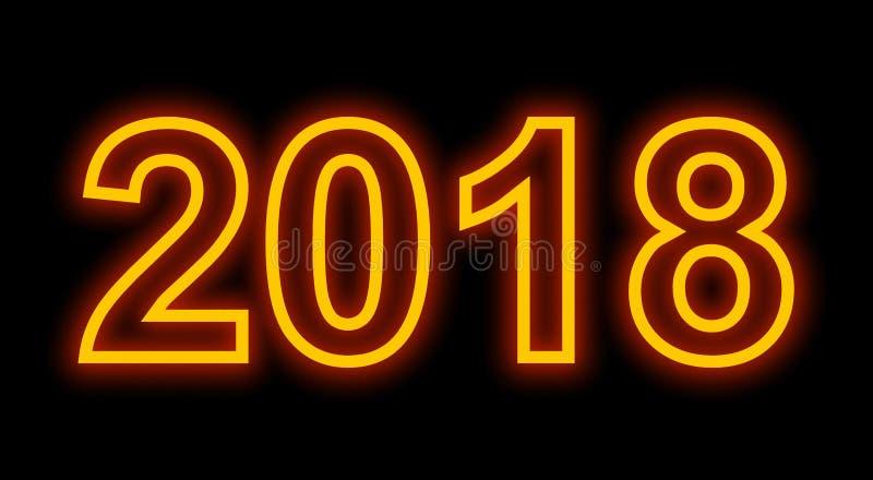 Numeri descritti della luce al neon di anno 2018 isolati sul nero illustrazione vettoriale