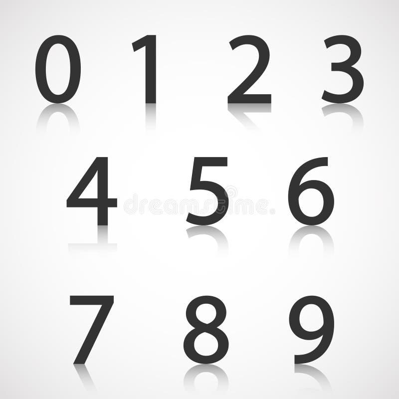 Numeri di carta con la riflessione immagini stock libere da diritti