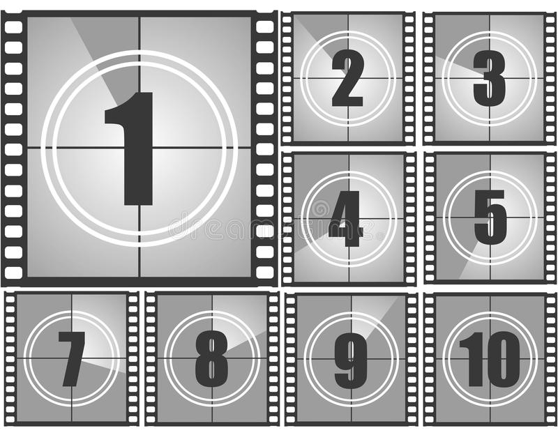Numeri di conto alla rovescia del film illustrazione di stock
