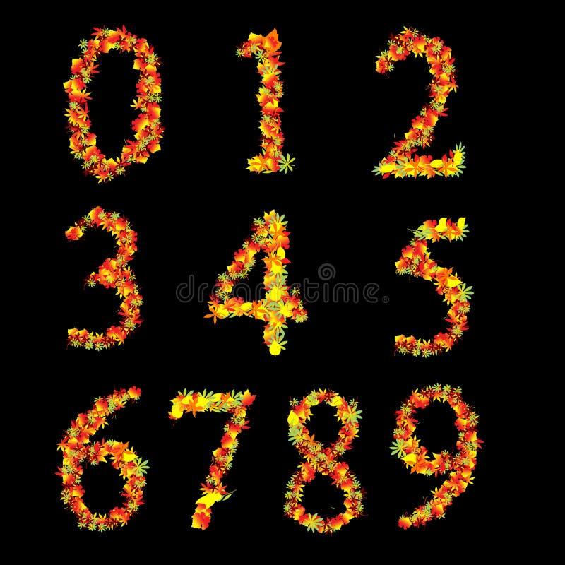 Numeri di fonte tipografica vibranti gialli rossi dei fogli illustrazione di stock