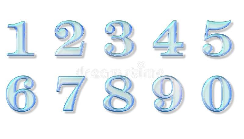 Numeri di vetro blu illustrazione di stock
