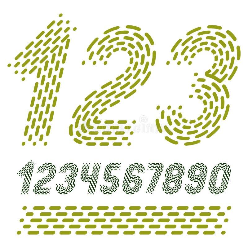 Numeri di vettore, numeri moderni fissati Grassetto corsivo arrotondato retro n royalty illustrazione gratis