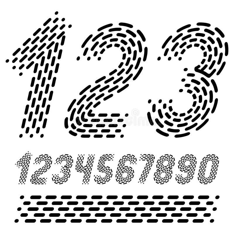 Numeri di vettore, numeri moderni fissati Grassetto corsivo arrotondato retro n illustrazione di stock