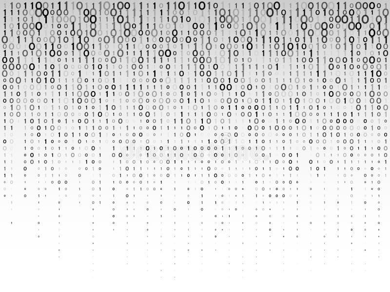 Numeri digitali di caduta su un fondo grigio Codice macchina binario astratto illustrazione vettoriale