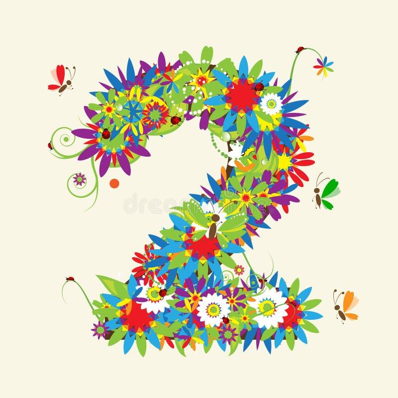 Numeri, disegno floreale. illustrazione di stock