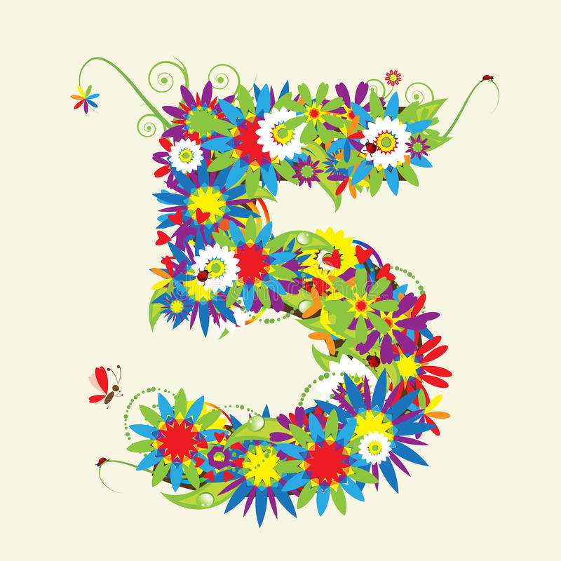 Numeri, disegno floreale. royalty illustrazione gratis