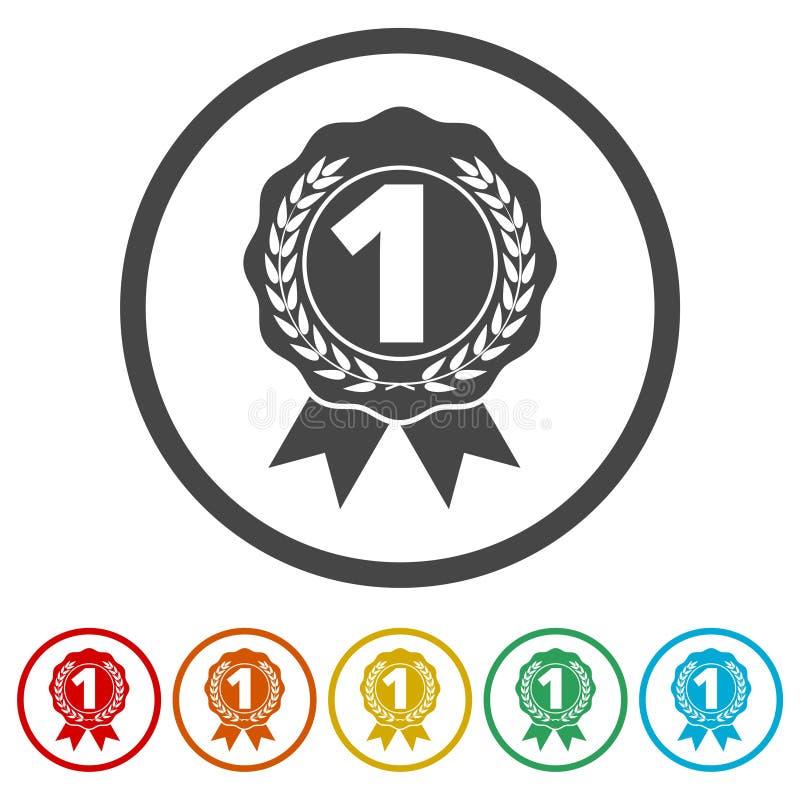 Numeri 1 distintivo, assegni l'icona, il segno del premio, 6 colori inclusi royalty illustrazione gratis