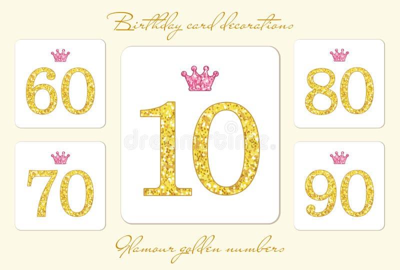 Numeri dorati d'annata svegli di scintillio con la corona illustrazione di stock