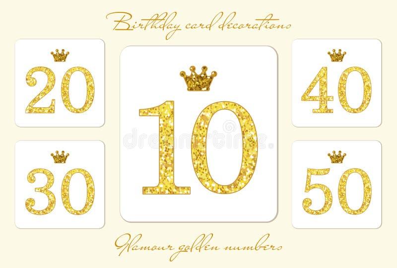 Numeri dorati d'annata svegli di scintillio con la corona illustrazione vettoriale