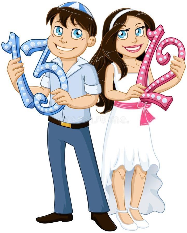 Numeri ebrei della tenuta della ragazza e del ragazzo per il bat mitzvah di Antivari illustrazione vettoriale