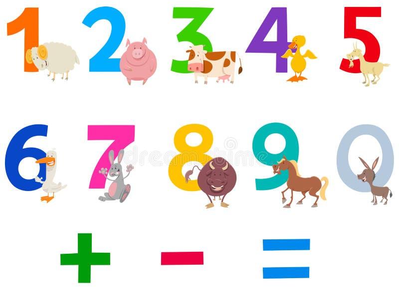 Numeri educativi fissati con gli animali da allevamento illustrazione di stock