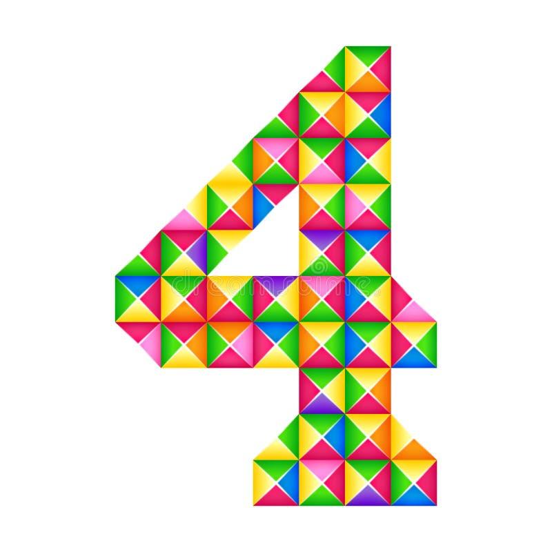 Numeri effetto realistico di 4 un quarto origami 3D isolato Figura dell'alfabeto, cifra illustrazione di stock