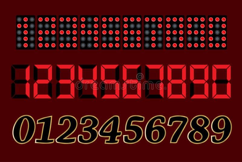Numeri 1, 2, 3, 4, 5, 6, 7, 8, 9, 0 Elettrone, diodo, quadrante, emettere luce, principale Vettore illustrazione vettoriale