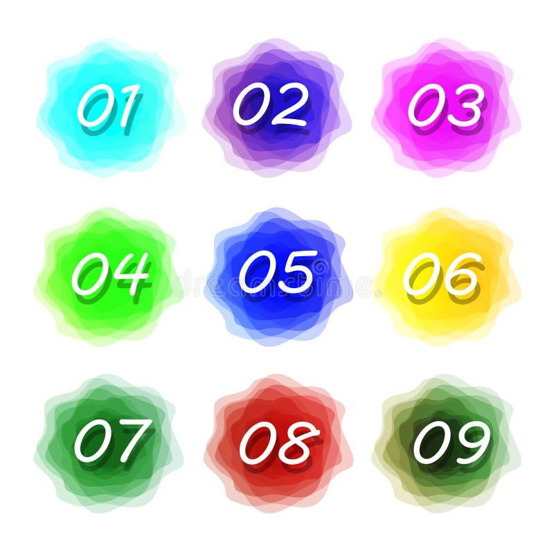 Numeri fissati Logos dell'insieme di numeri illustrazione vettoriale