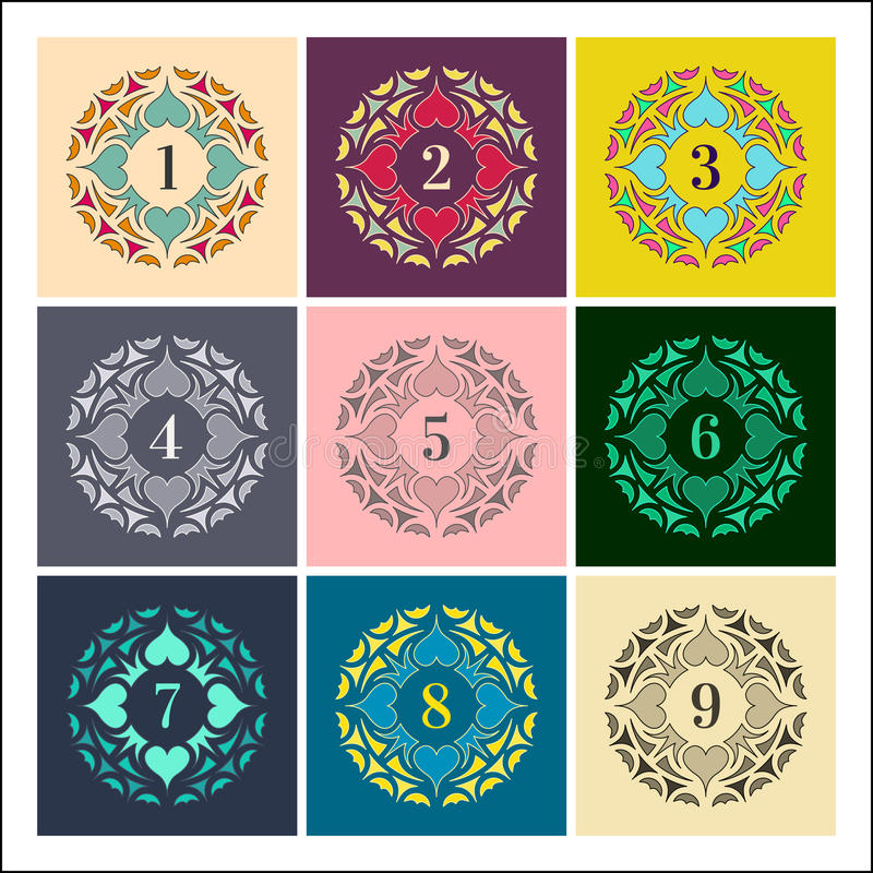 Numeri fissati Strutture variopinte nello stile lineare Raccolta delle mandale illustrazione di stock