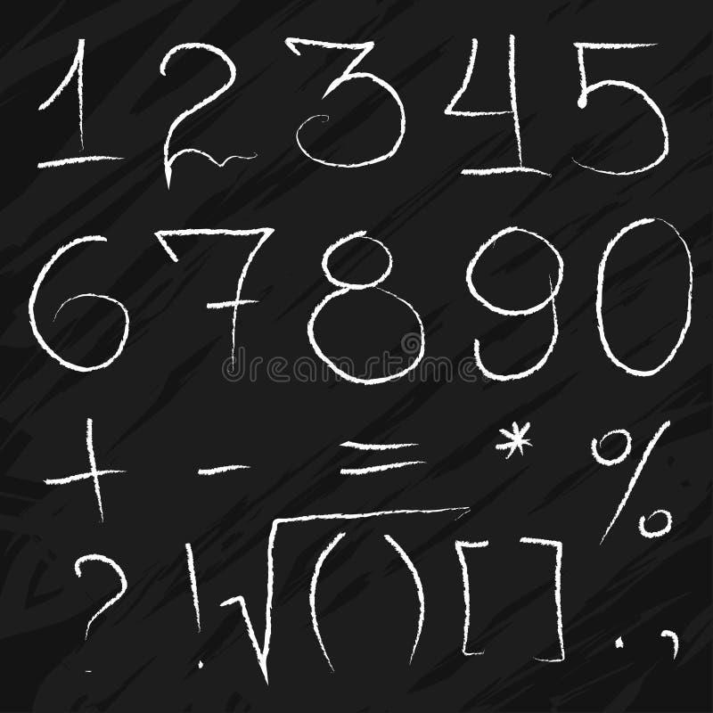 Numeri gessosi di scarabocchio sulla lavagna illustrazione di stock