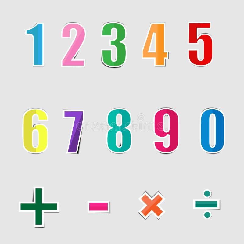Numeri grafici di carta di alfabeto illustrazione vettoriale