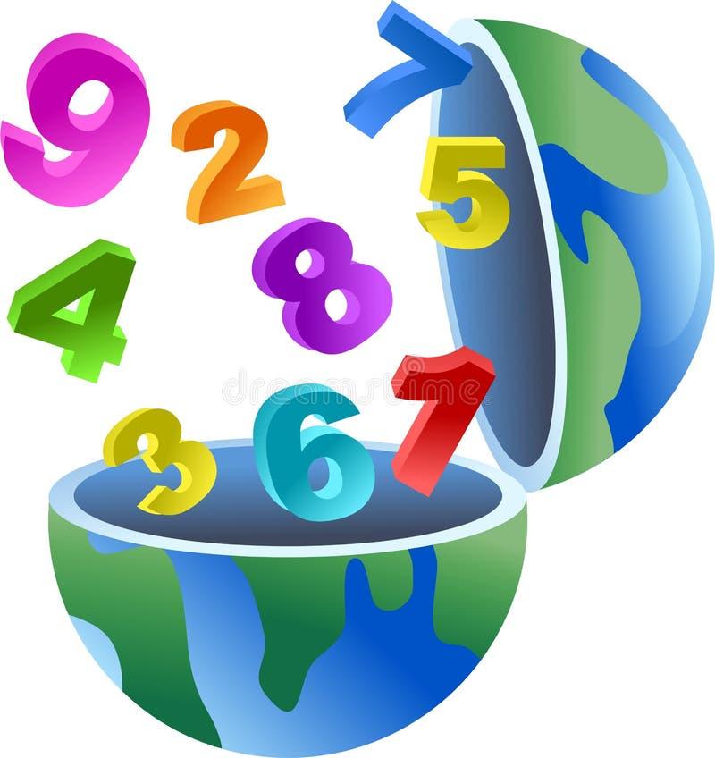 Numeri il globo illustrazione di stock
