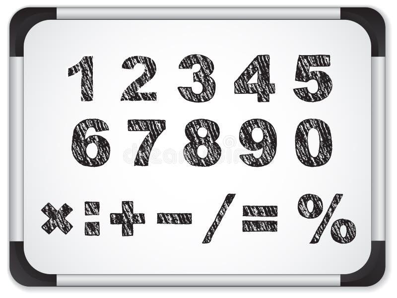 Numeri neri su Whiteboard royalty illustrazione gratis