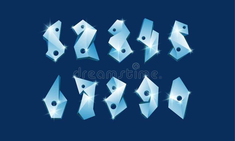 Numeri poligonali del ghiaccio fissati Fonte vetrosa astratta di numeri illustrazione di stock