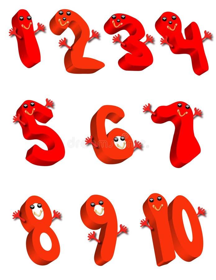 Numeri rossi illustrazione vettoriale