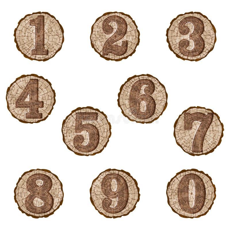 Numeri sulle fette del ceppo illustrazione vettoriale