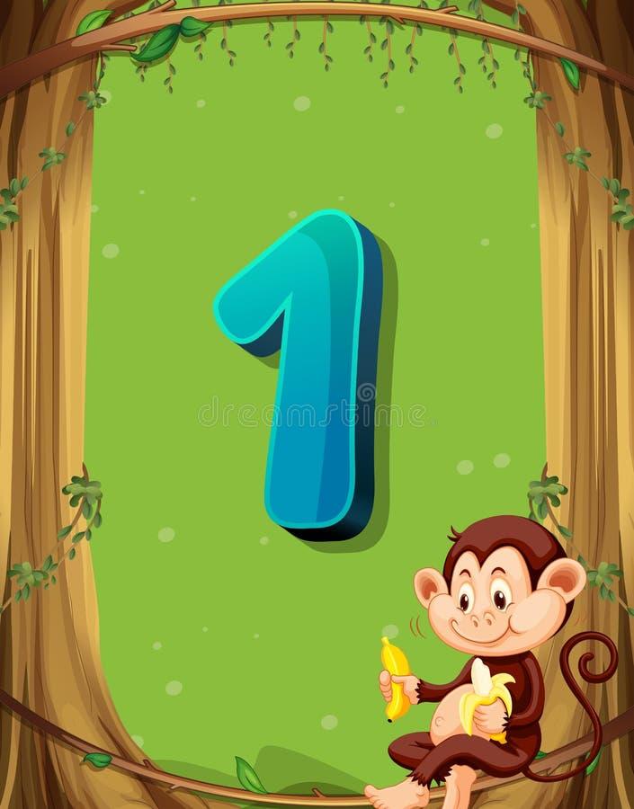 Numeri uno con soltanto una scimmia nell'albero illustrazione di stock