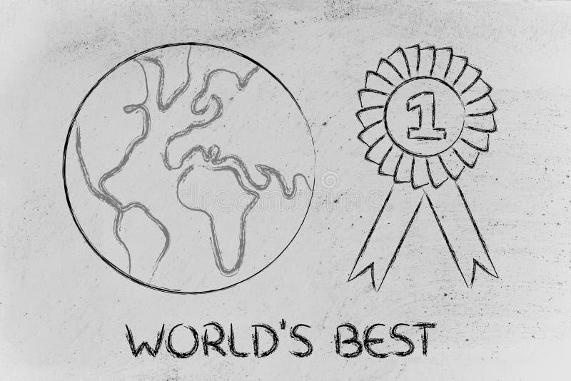 Numeri uno, progettazione del mondo con il nastro del vincitore royalty illustrazione gratis