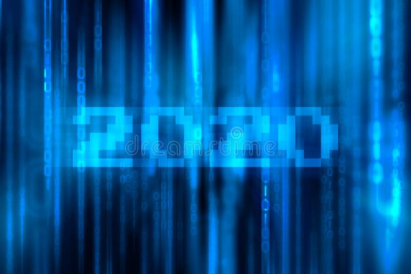 Numeric 2020 with Falling Random Numbers. Blue Matrix Background. Stream of Decimal Digits & x28;Happy New Year 2020 concept stock image