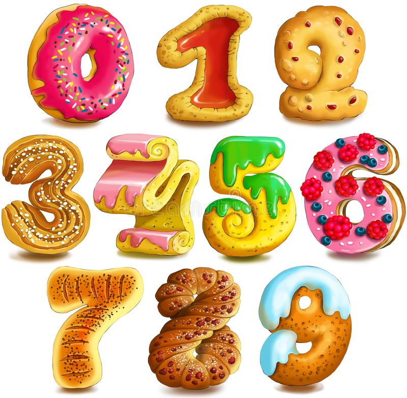 Numeric. Illustration of figures in the form of confectionery. Decorative numbers from zero to nine. Digits cookies royalty free stock photography
