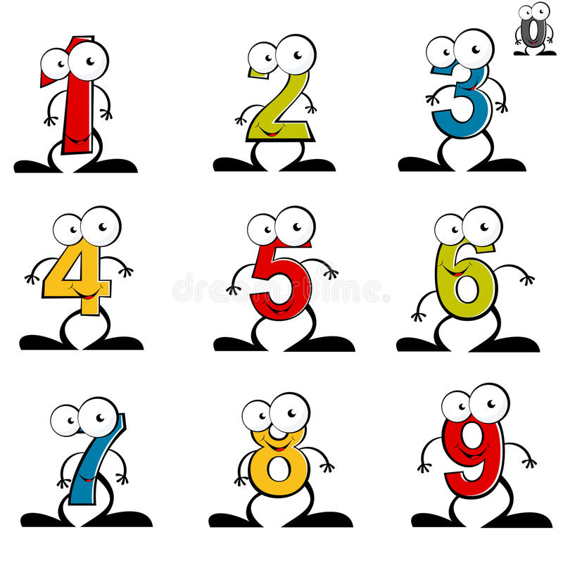 Numerical cartoon characters royalty free illustration