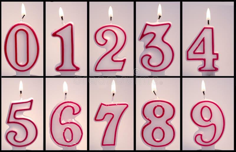 Numeriek Lit van Verjaardagskaarsen royalty-vrije stock foto's