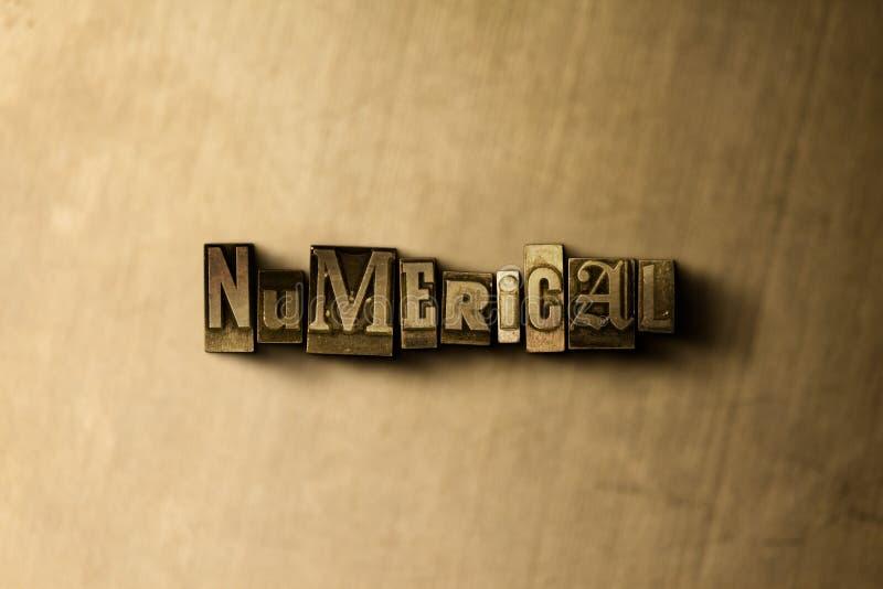 NUMERISCH - Nahaufnahme der grungy Weinlese setzte Wort auf Metallhintergrund vektor abbildung