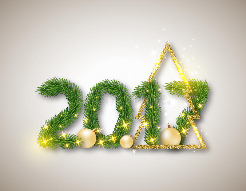 2017 numerisch von den Tannenzweigen mit abstraktem Goldweihnachtsbaum lizenzfreie abbildung