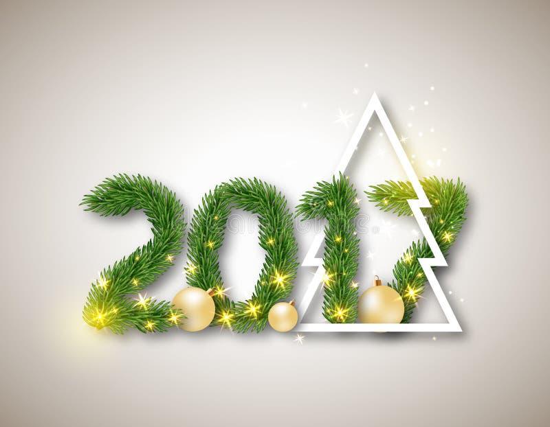 2017 numerisch von den Tannenzweigen mit abstraktem Weihnachtsbaum und lizenzfreie abbildung