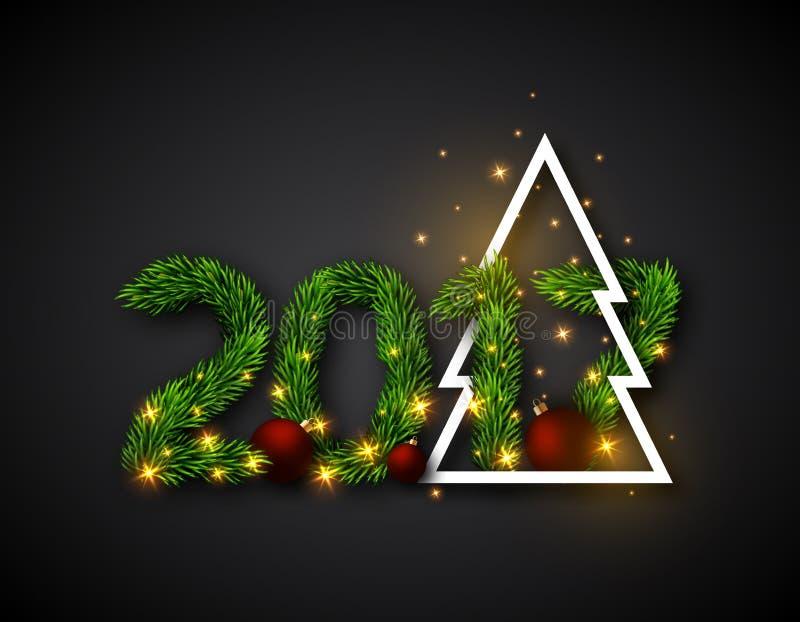 2017 numerisch von den Tannenzweigen mit abstraktem Weihnachtsbaum und vektor abbildung