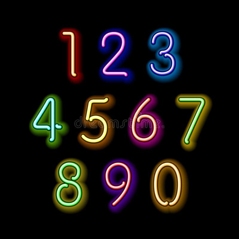 Numeriska diagram i mousserande neonfärger royaltyfri illustrationer