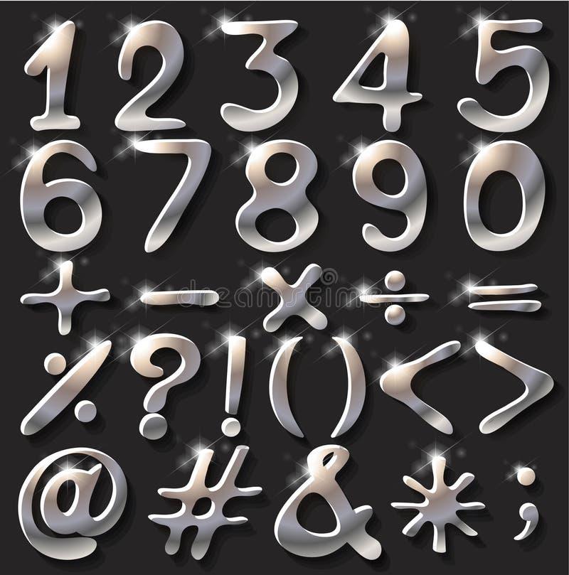 Numeriska diagram och operationer stock illustrationer