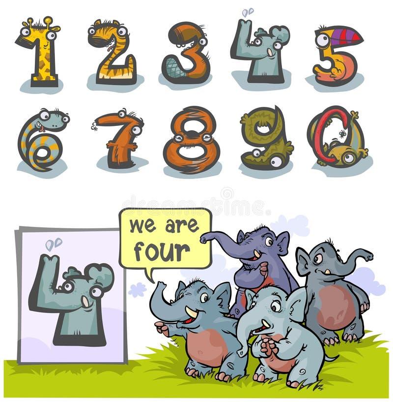 Numero animale quattro del fumetto illustrazione di stock