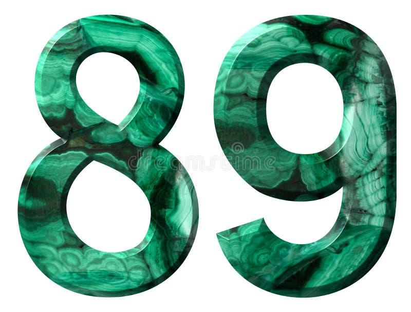 Numero arabo 89, ottantanove, da malachite verde naturale, isolata su fondo bianco immagini stock libere da diritti