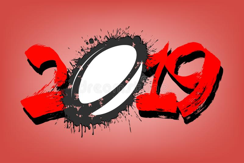 Numero astratto 2019 e una palla di rugby dalle macchie illustrazione vettoriale