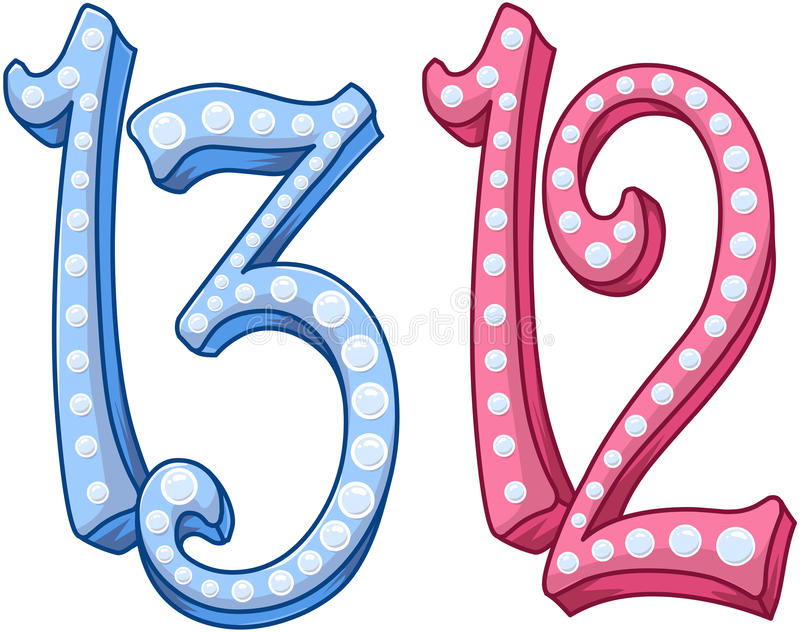 Numero brillante blu rosa 12 13 per il bat mitzvah di Antivari illustrazione di stock