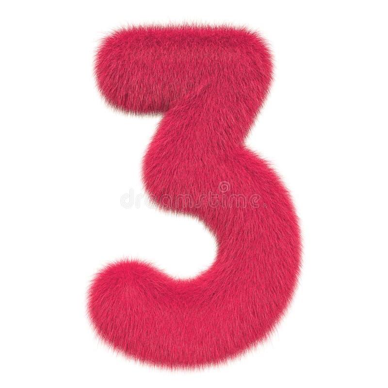 Numero colorato, lanuginoso, peloso 3 rappresentazione 3d illustrazione di stock