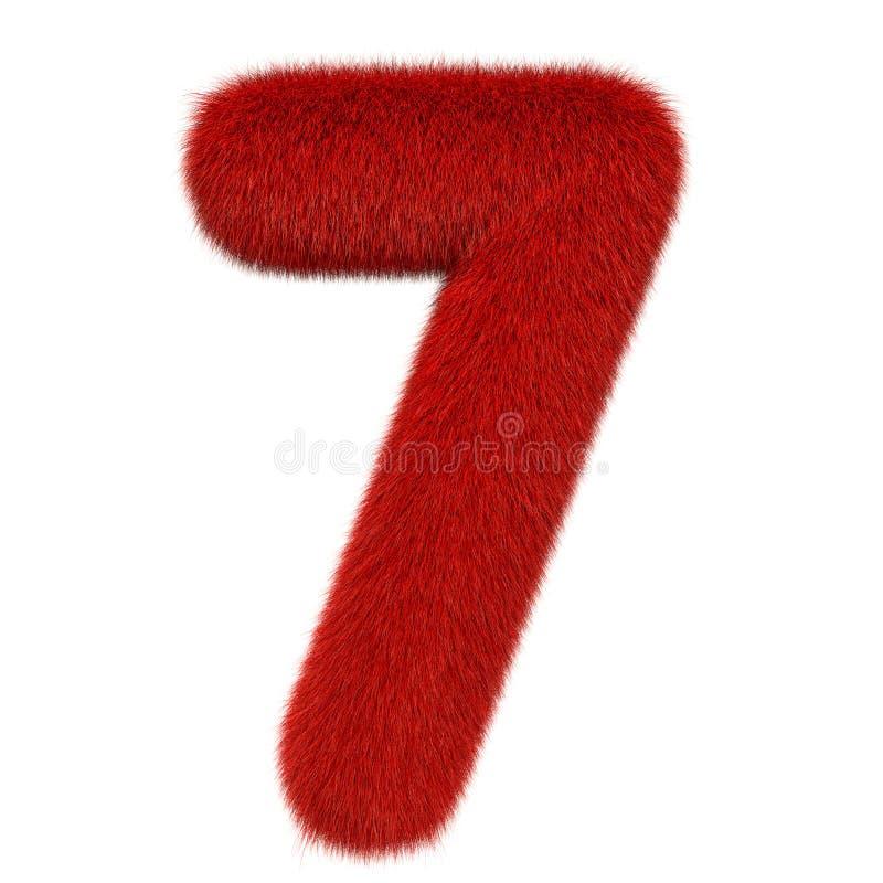 Numero colorato, lanuginoso, peloso 7 rappresentazione 3d illustrazione vettoriale