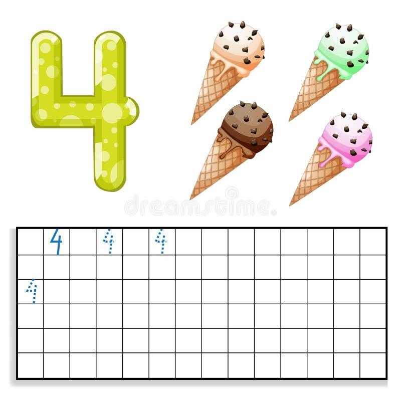 Numero 4 con il gelato quattro illustrazione vettoriale