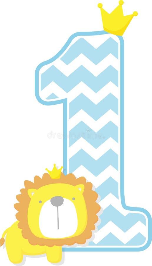 Numero 1 con il modello sveglio del gallone e di re leone illustrazione vettoriale