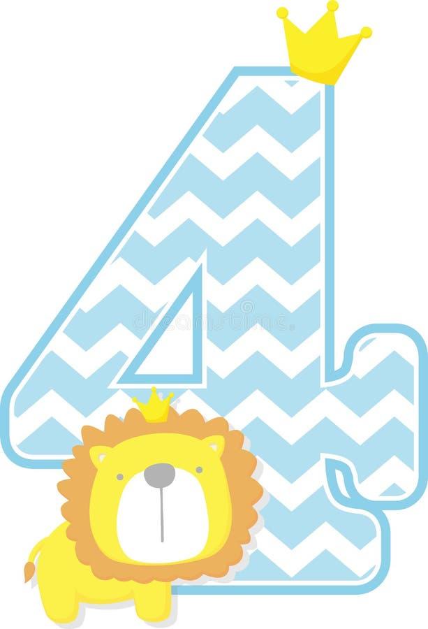 Numero 4 con il modello sveglio del gallone e di re leone illustrazione di stock